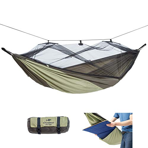 AMAZONAS Ultra-Light Hängematte Moskito Traveller Thermo XXL 780g 305 x 160cm bis 200kg in Grün