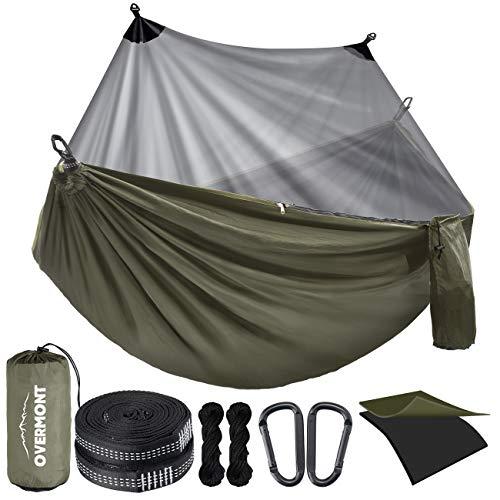 Overmont Doppelschichtige Hängematte mit Moskitonetz TÜV-Zertifiziert 400kg Tragfähigkeit, Outdoor Atmungsaktiv Hängematten für Camping Reise Trekking Garten, aus Nylon Fallschirm (Grün, 270x140cm)