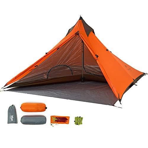 Tentock Outdoor Wasserdicht Campingzelt 3 Jahreszeiten Trekkingzelt Ultraleichtes Pyramide Zelt für Camping Wandern Klettern Backpacking(orange)