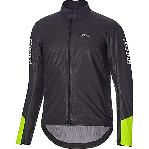 GORE Wear Wasserdichte Herren Rennrad-Jacke, C5 GORE-TEX SHAKEDRY 1985 Insulated Viz Jacket, S, Schwarz/Neon-Gelb, 100418