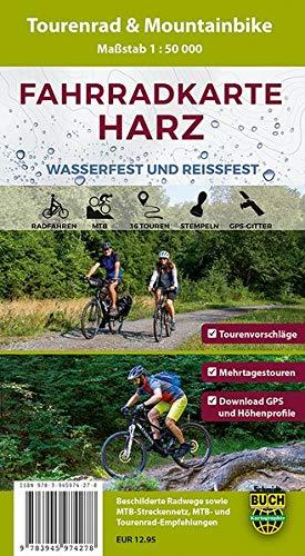 Fahrradkarte Harz: Wasser- und reißfeste Tourenrad- und Mountainbike-Karte mit 36 Touren