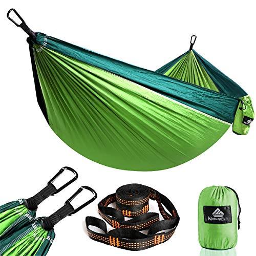 NatureFun Ultraleichte Reise Camping Hängematte   300kg Tragkraft (275 x 140 cm) Atmungsaktiv,Schnelltrocknendes Fallschirm Nylon   2 x Premium Karabiner,2 x Schlingen  Drinnen Draußen Garten